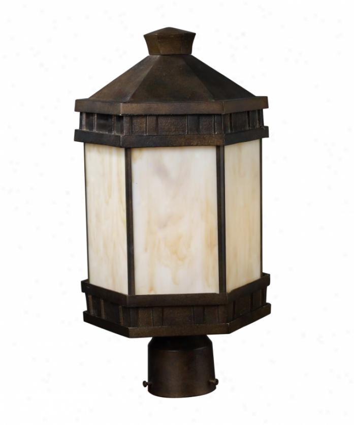 Landmark Lightimg 64023-1 Mission Abbey 1 Light Outdoor Posg Lamp In Hazelnut Bronze With Cream Art Glass Glass