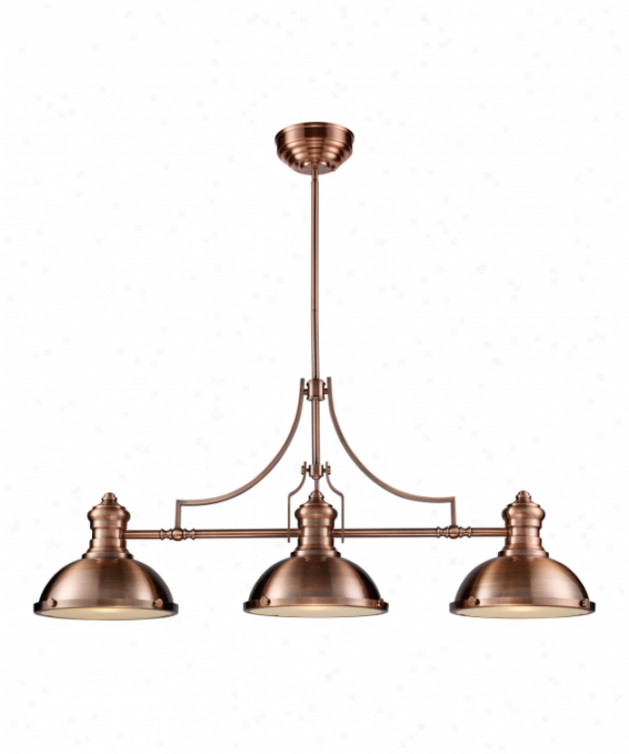 Landmark Lghting 66145-3 Chadwick 3 Light Billiard Light In Antique Copper With Frosted Glass Diffusser Glass