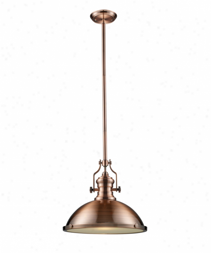 Landmark Lighting 66148-1 Chadwick 1 Light Ceiling Pendant nI Antique Copper With Tempered Glass Diffuser Glass