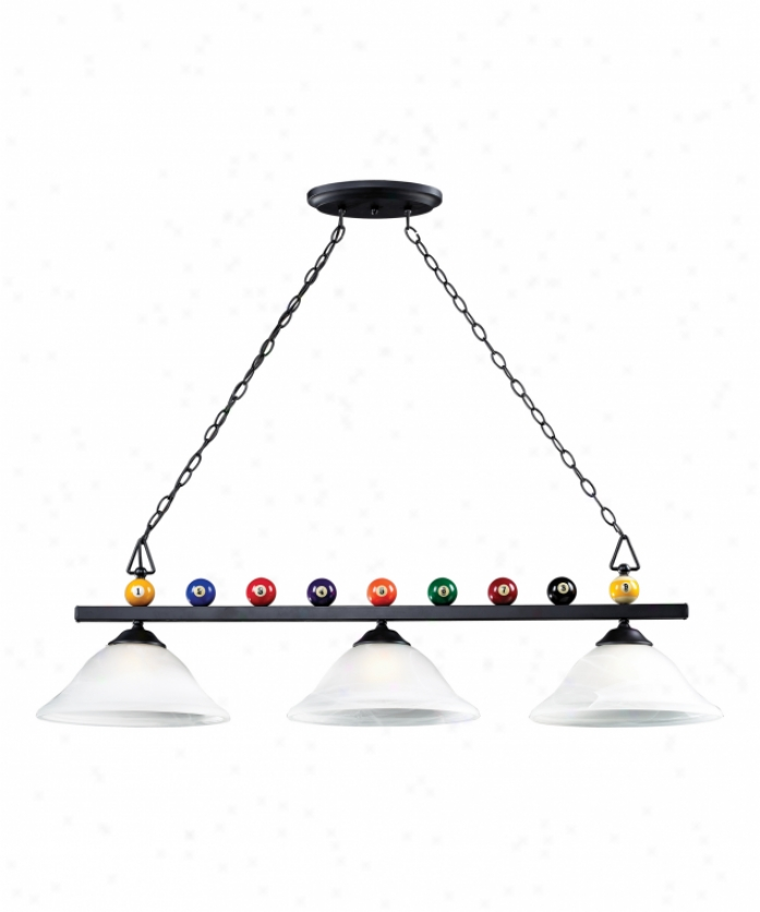 Landmark Lighting 66204-3 Billiard 3 Light Island Light In Matte Black With White Faux Alabaster Glass