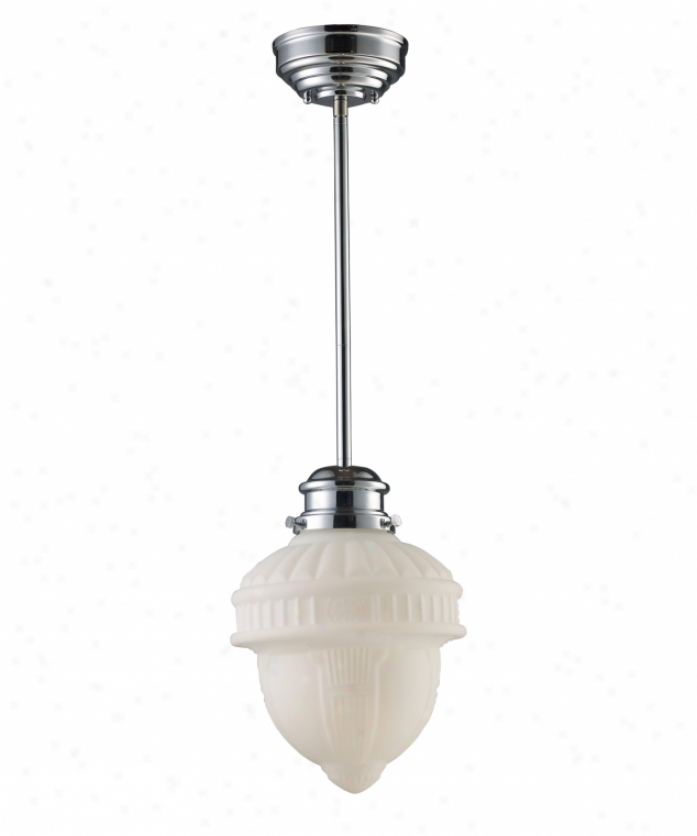 Landmark Lighting 69021-1 Schoolhouse 1 Light Ceiling Pendant In Polished Chrome With Opa1 White Blown Glass Glass