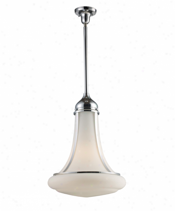 Landmark Lighting 69025-1 Schoolhouse 1 Light Ceiling Pendant In Polished Chrome With Opal White Blown Glass Glass