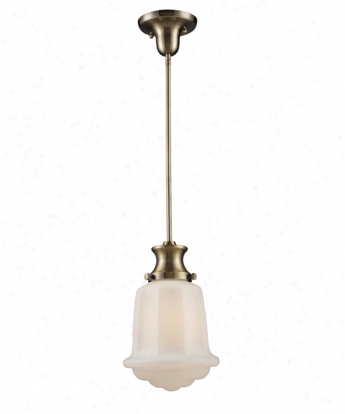 Landmark Lighting 69033-1 Scyoolhouse 1 Light Ceiling Pendant In Antique Brass With Opal White Blown Glass Glass