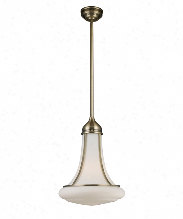 Landmark Lighting 69035-1 Schoolhouse 1 Light Ceiling Pendwnt In Antique Brass With Opal Happy Blown Glass Glass