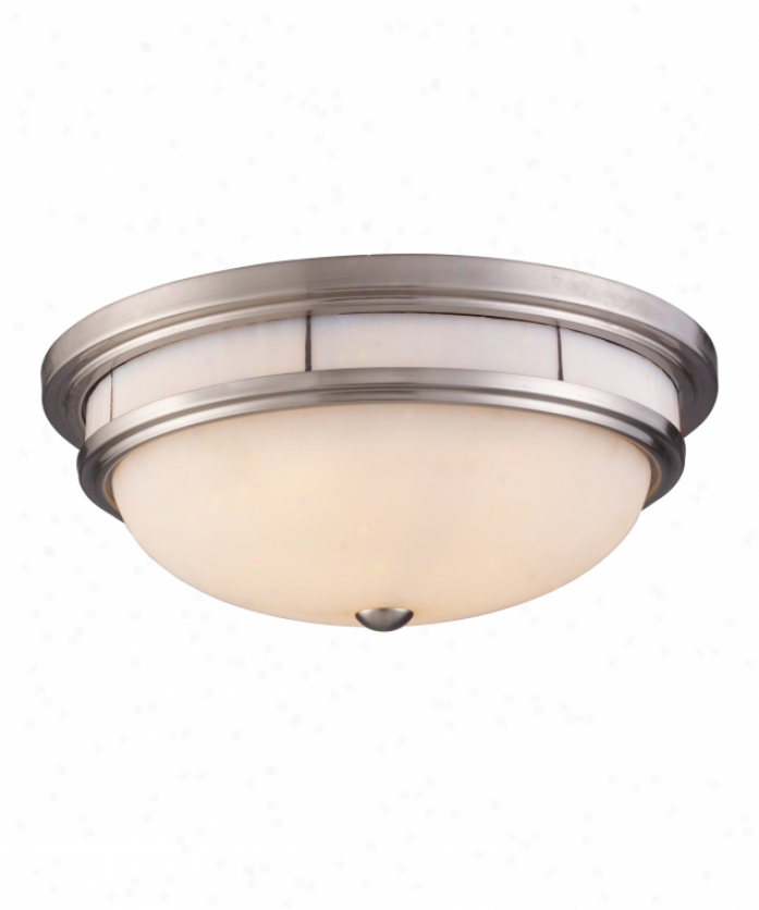Landmark Lighting 70018-3 Tif fany Flushes 3 Light Flush Mount In Satin Nickel With White Glass Cream Accents Glass