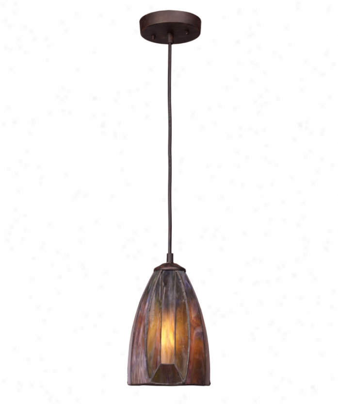 Landmark Lighting 70046-1 Dimensions 1 Light Ceiling Pendant In Burnished Copper Upon Tea Stained Creation of beauty Glass Glass