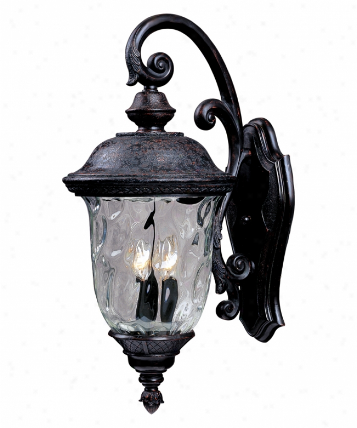 Maxim Lighting 3496wgob Carriage House Dc 2 Light Outdoor Wall Light In Oriental Bronz3 With Water Glass Glass