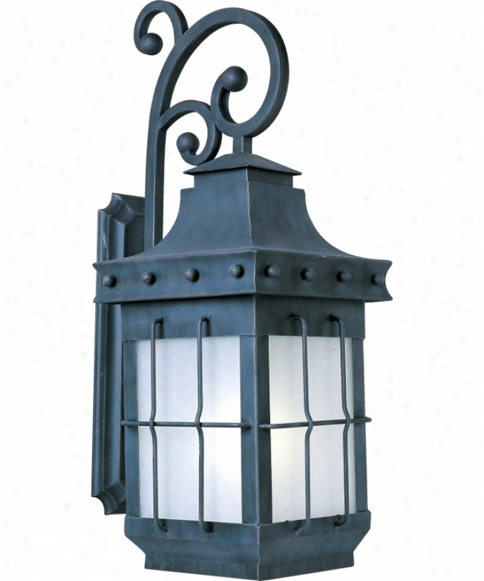 Maxim Lighting 85085fscf Nantucket Energy mSart 1 Light Exterior Wall Lighy In Country Forge With Frosted Seedy Glass
