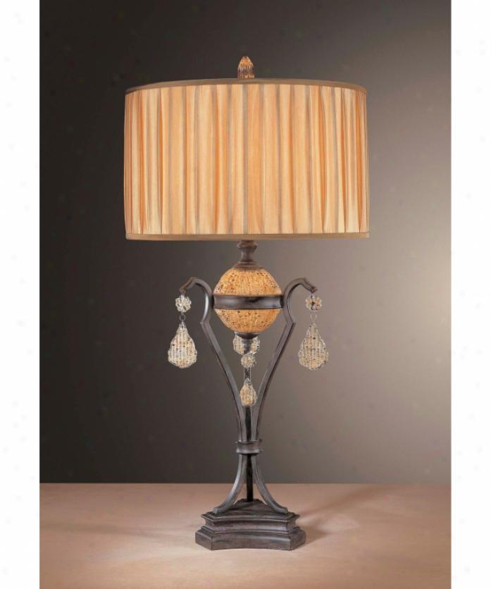 Metropolitan N12352-159 Monte Titano 1 Light Table Lamp In Monte Titano Oro With Piastra Butterscotch Eddy Glass Glass