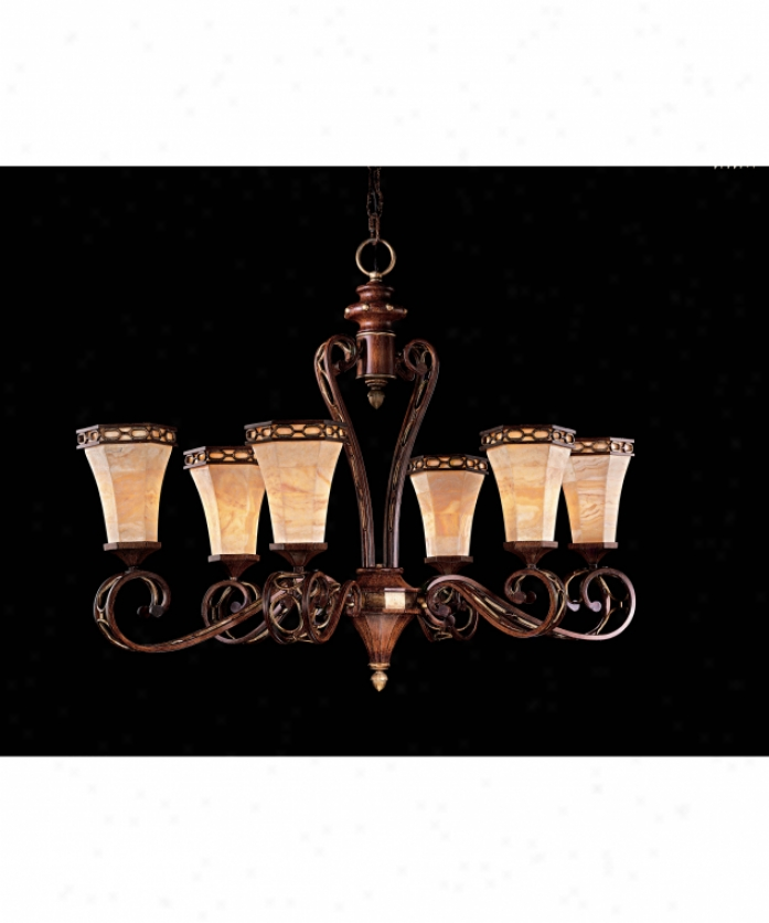Metropolitan N2157-126 Andalucia 6 Light Single Tier Chandelier In Belcaro Walnut With Crystal Wood Veneer Glass