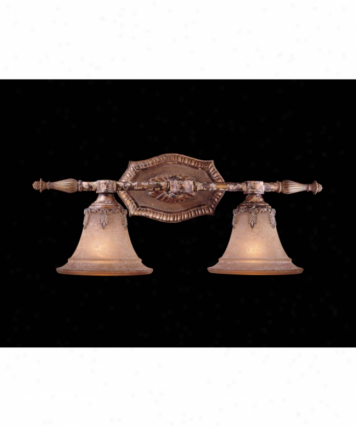 Metropolitan N2182-473 Barcelona 2 S~ Bath Vanity Light In Amaretto Patina With Silver Highlights With Salon Scavo Glass