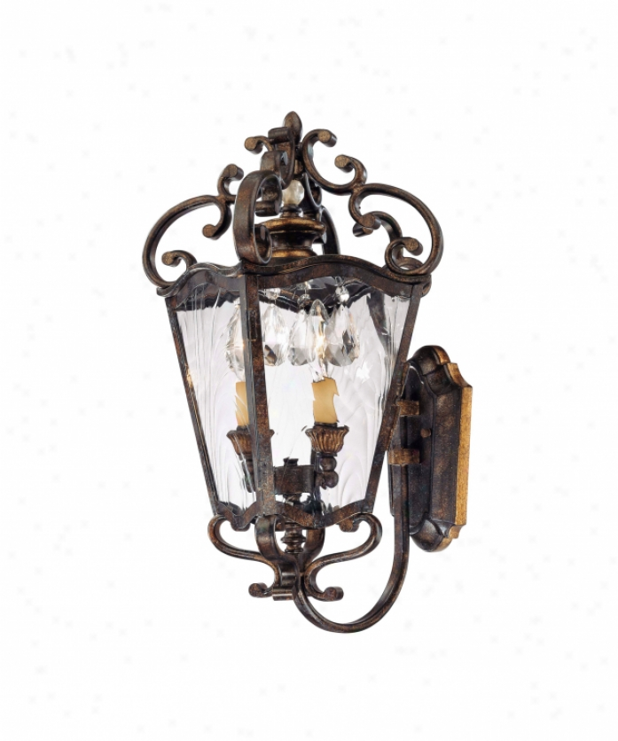 Metropolitan N3246-270 San Juan 2 Light Outdoor Wall Light In Terraza Villa Aged Patina Wgold Leaf Accents With Water Glass