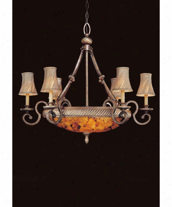 Metropolitqn N6060-265 Gran Canaria 9 Light Pure Tier Chandelier In Cartouche Bronze With Cracked Pen Shell Glass
