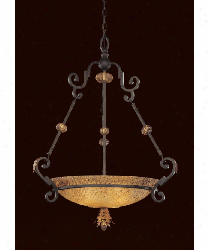 Metropolitan N6535-159 Monte Titano 3 Light Ceillng Pendant In Monte Titano Oro With Piastra Butterscotch Swirl Glass