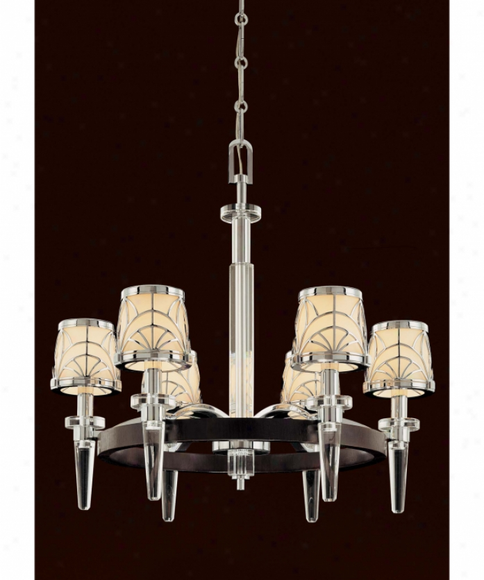 Metropolitan N6923-77 Storyboard 6 Ligh tSingle Tier Chandelier In Chrome Wmacassar Ebony And Crystal Language With Etched White Glass Glasd