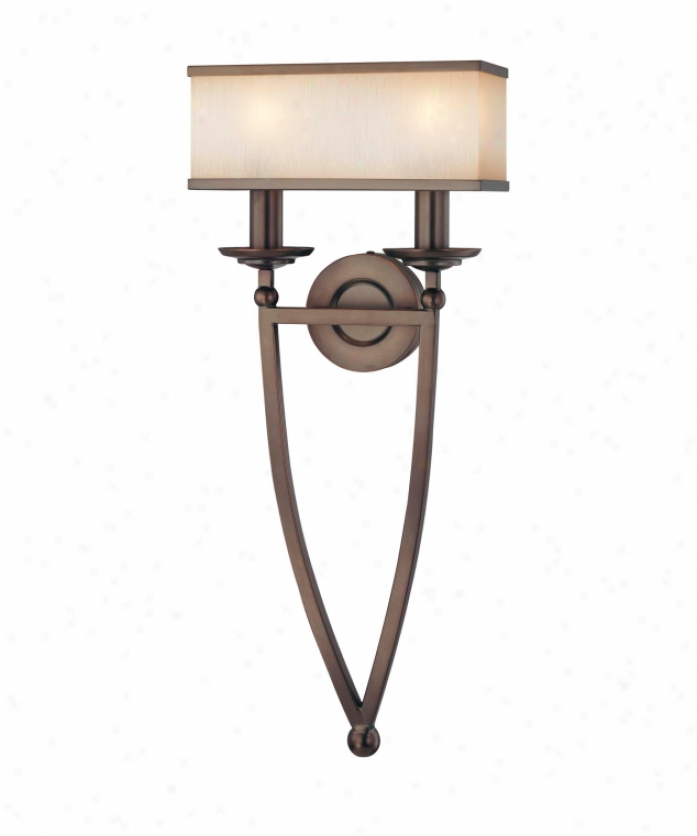 Metropolitan N6962-267b Underscore 2 Light Wall Sconce In Cimarron Bronze With Brushed Caramel Silk Glass