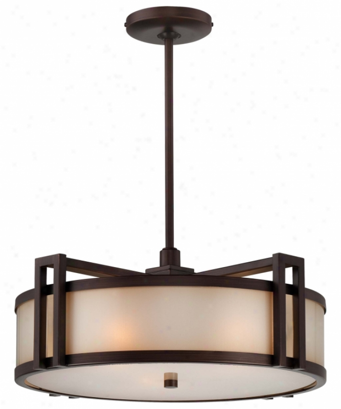 Metropolitan N6966-267b Walt Disney Signature-underscore 3 Window Ceiling Pendant In Harden With Brushed Caramel Silk Glaws