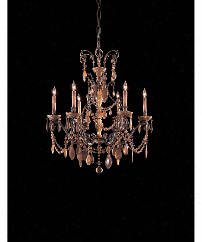 Metropolitan N950820 Antiqued Bohemian 6 Light Single Tier Chandelier In Dark Flenish With Antqiued Bohemian Crystal Crystal