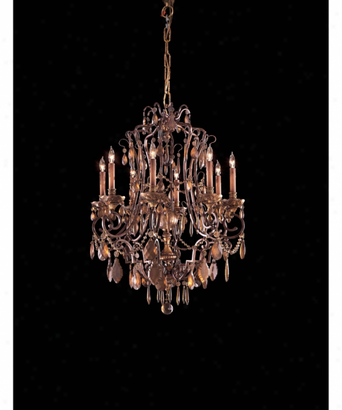 Metropolitan N950830 Antiqued Bohemian 8 Light Single Tier Chandelier In Dark Flemish With Antiqued Bohemian Crystal Crystal