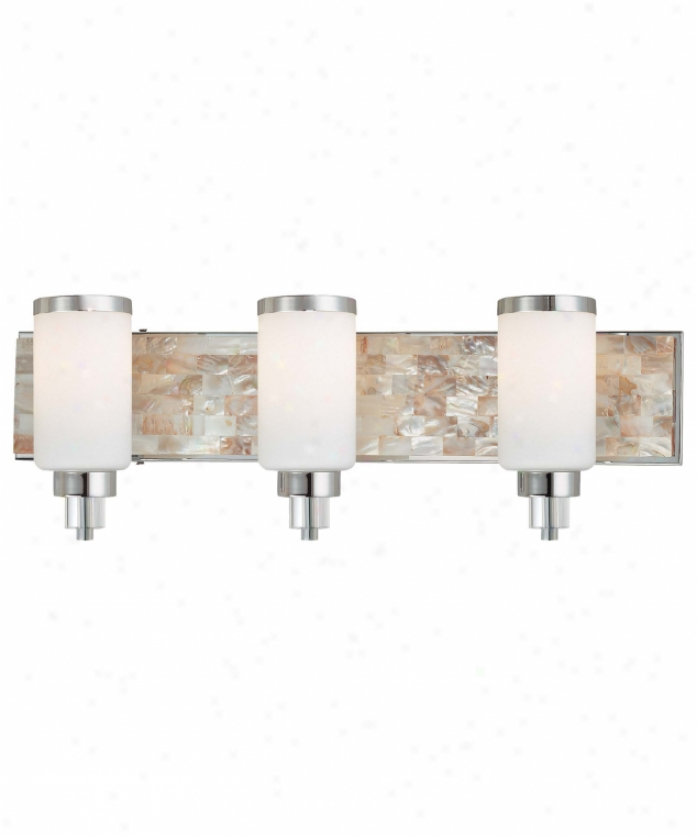 Minka Lavery 3243-77 Cashelmara 3 Light Bath Vanity Libht In Chrome With Natural Shell With Etched Opal Glass Glass