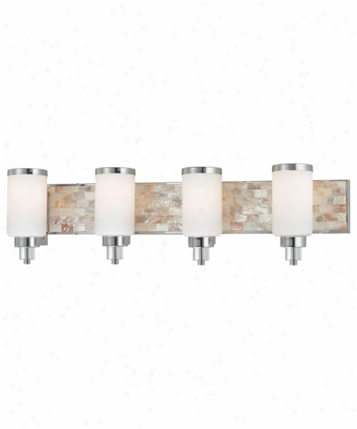 Minka Lavery 3244-77 Cashelmara 4 Light Bathh Vanity Light In Chrome With Natural Shell With Etched Opal Glass Glass