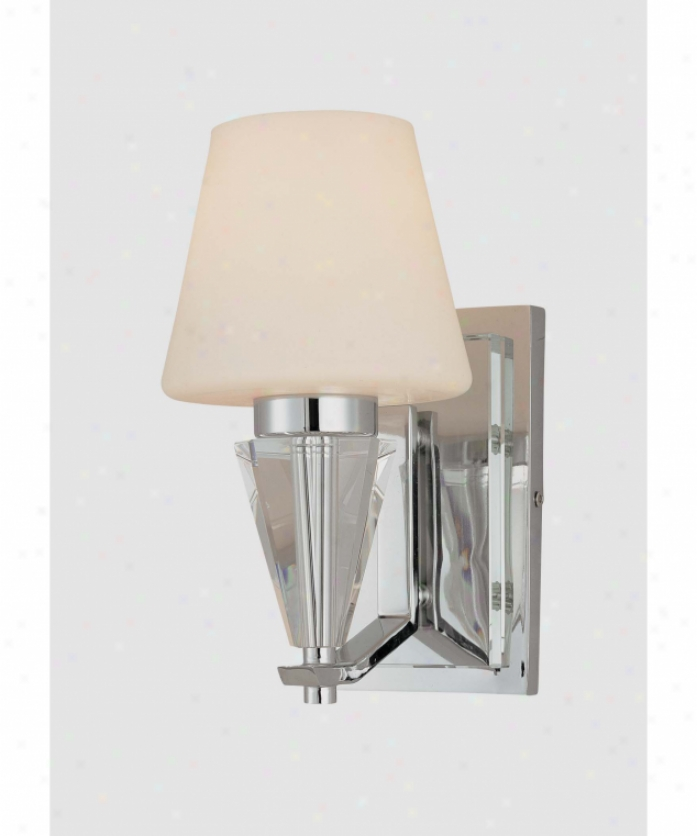 Minka Lavery 3261-77 Adamas 1 Ligjt Wall SconceI n Chrome And Eidolon Krystal Glass With Etched White Glass Glass