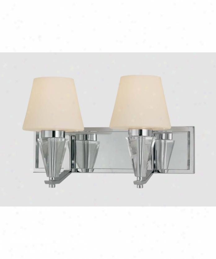 Minka Lavery 3262-77 Adamax 2 Light Bath Vanity Light In Chrome Anx Eidolon Krystal Glass With Etched White Glass Glass