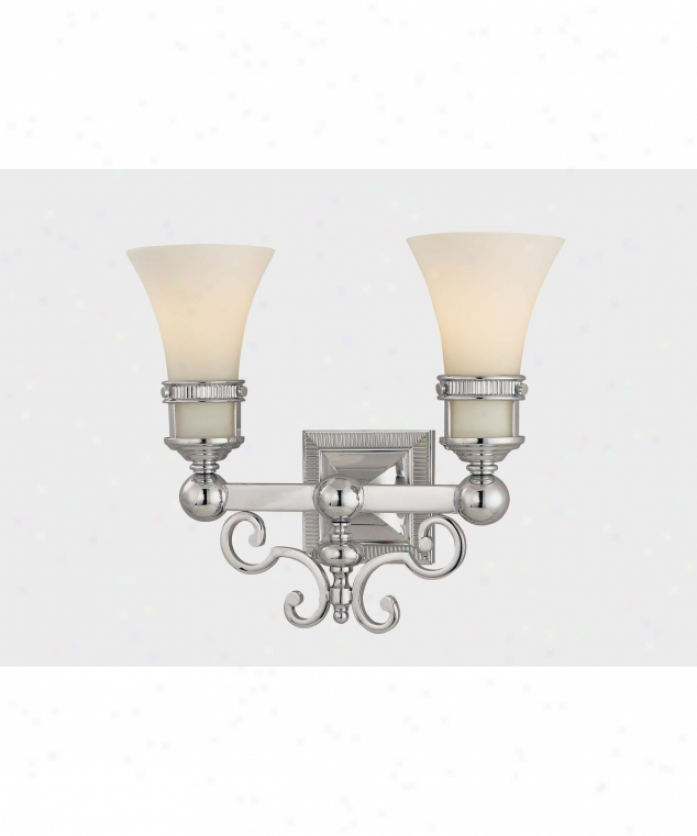 Minka Lavery 3272-77 Federal Restoration 2 Light Bath Vanity Light In Chrome With Etched White Glass Glass