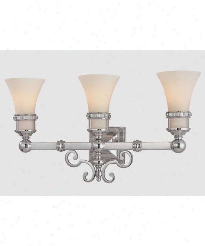 Minka Lavery 3273-77 Confederate Restoration 3 Light Baht Vanity Light In Chrome With Etched White Glass Glass