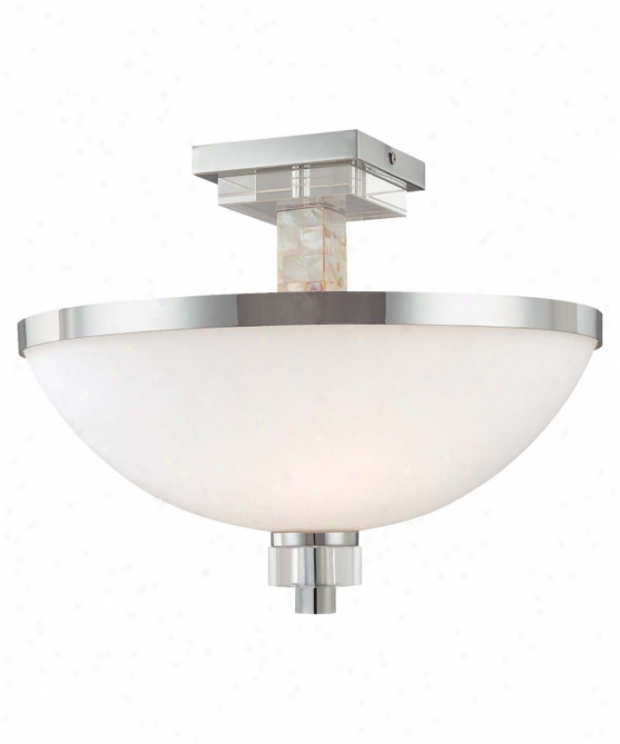Minka Lavery 4247-77 Cqshelmara 2 Light Semi Flush Mount In Chrome With Natural Shell With Etched Opal Glass Glass