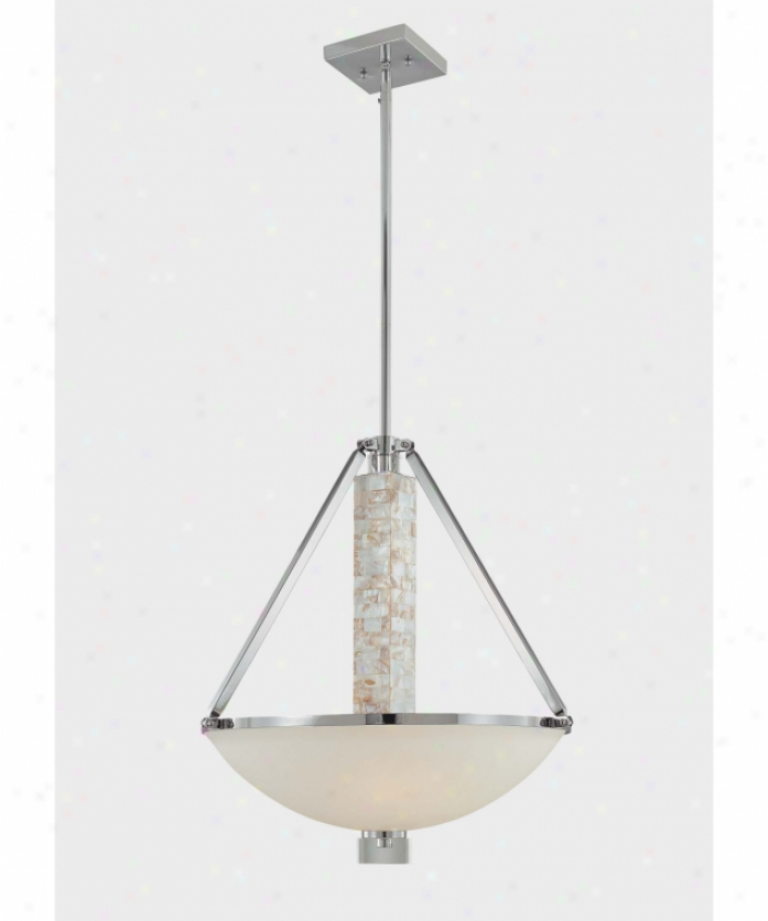 Minka Lavery 4248-77 Cashelmata 3 Light Ceiling Pendant In Chrome With Natural Shell With Etched Opal Glass Glass