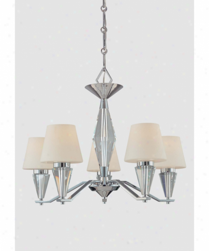 Minka Lavery 4265-77 Adamas 5 Light Singl eTier Chandelier In Chrome And Eidolon Krystal Glass With Etched White Glass Glass