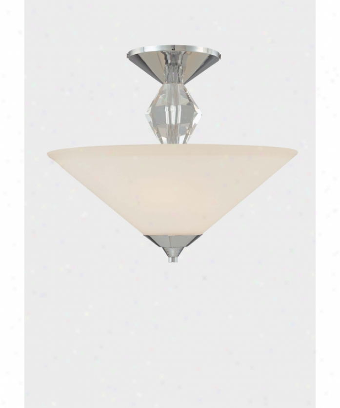 Minka Lavery 4267-77 Adamas 2 Light Semi Flush Mount In Chrome And Eidolon Krystal Glass With Etched White Glass Glass