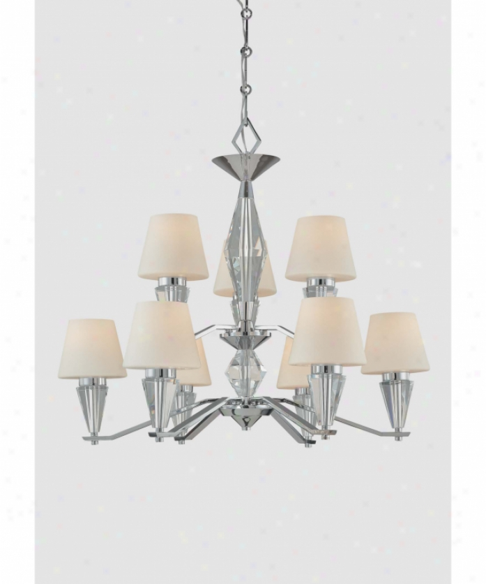Minka Lavery 4268-77 Adamas 9 Light Two Tier Chandelier In Chrome And Eidolon Krystal Glass With Etched White Glass Glass
