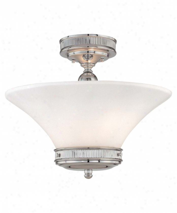 Minka Lavery 4277-77 Federal Restoration 2 Light Semi Flush Mount In Chrome With Etched White Glass Glass