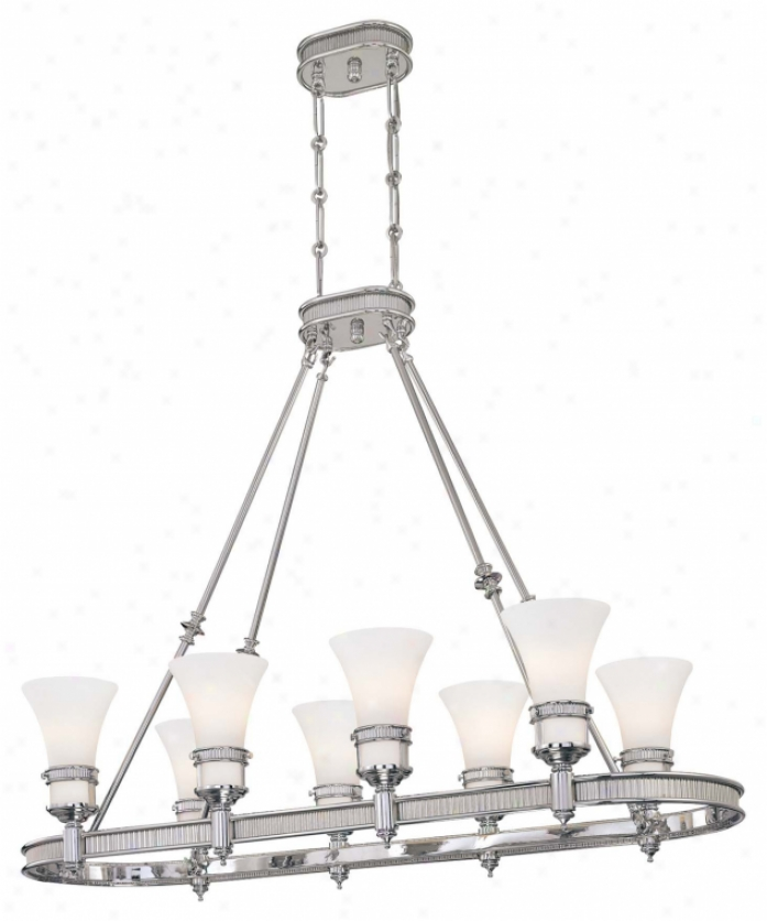 Minka Lavery 4284-77 Federal Restoration 8 Light Island Light In Chrome With Etched White Glass Glass
