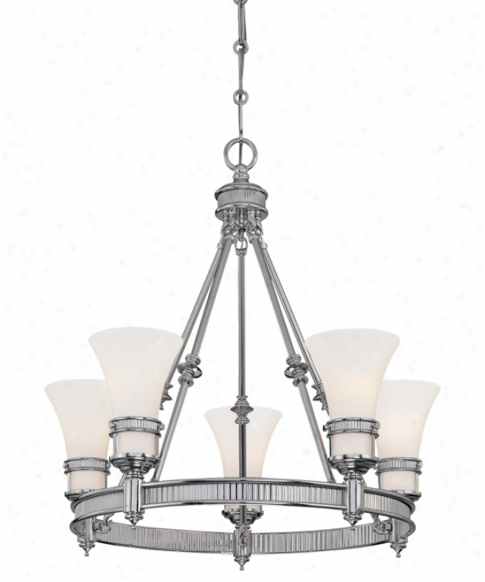 Minka Lavery 4285-77 Federal Restoration 5 Light Single Tier Chandeliee In Chrome With Etched White Glass Glass