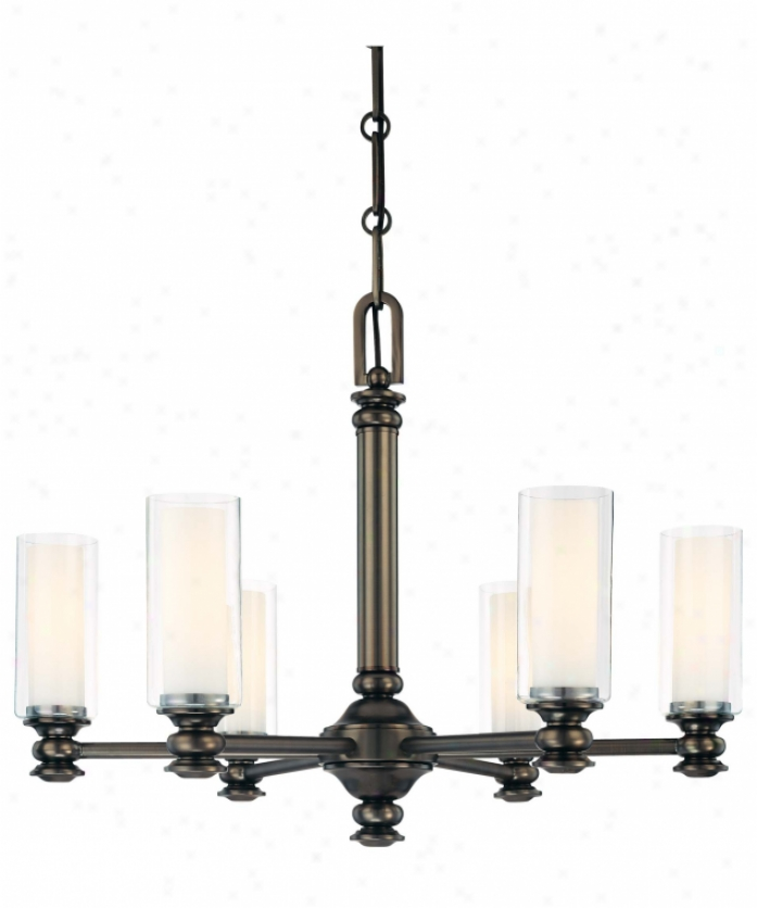Minka Lavery 4367-281 Harvard Court 6 Light Single Tier Chandelier In Harvard Ct Bronze With Clear And Etched Opal Glass