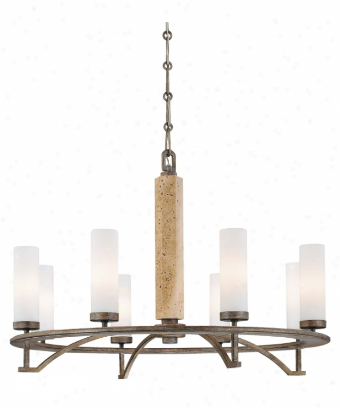 Minka Lagery 4468-273 Compositions 8 Light Single Tier Chandelier In Aged Patina Iron W- Travertine Stone With Etched pOal Glass