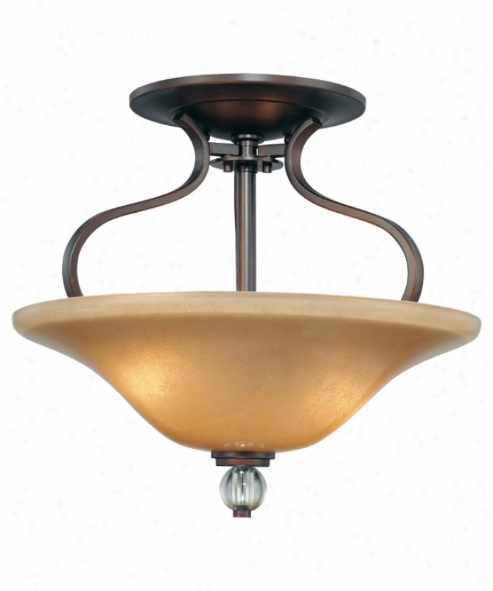 Minka Lavery 4482-167b Grahmton 2 Light Semi Flush Mount In Deep Latham Bronze With Mottled Topaz With Eidolon Krystal Glass