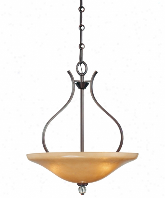 Minka Lavery 4487-167b Grahmton 3 Light Ceiling Pendant In Deep Lathan Bronze With Mottled Topaz With Eidolon Krystal Glass