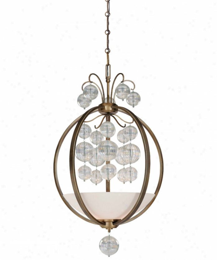 Minka Lavery 4503-292 Terzwtto 3 Light Ceiling Pendant In Terzetto Bronze With Etched Opal With Luster Optic Glass