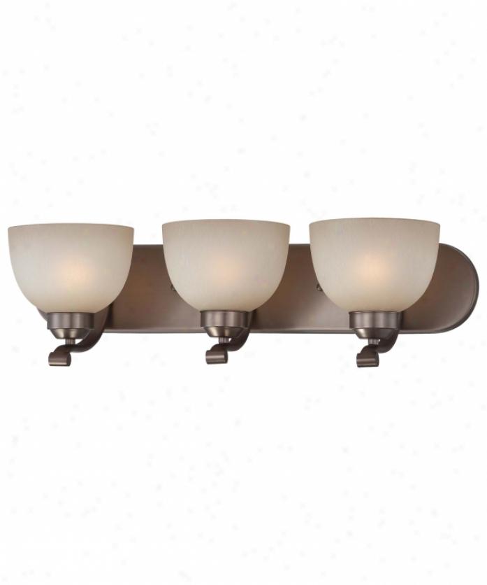 Minka Lavery 5423-281 Paradox 3 Light Bath Vanity Light In Harvard Flatter Bronze With Light French Scavo Glass