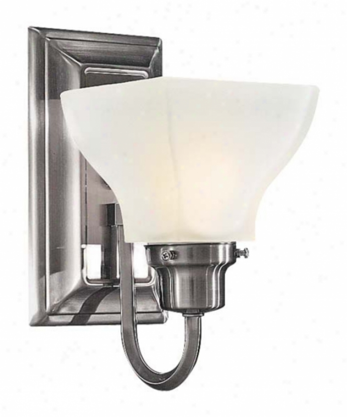 Minka Lavery 5581-84 Mission Ridge 1 Light Wall Sconce In Brushed Nickel With Etched Whjte Glass Glaws