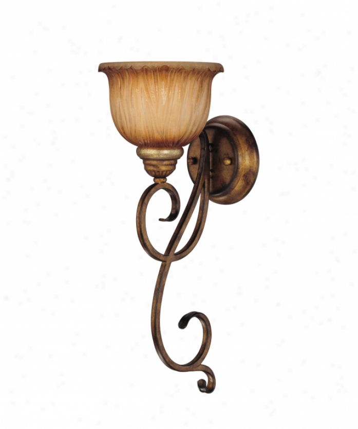 Minka Lavery 5960-243 Raffine 1 Light Wall Sconce In Raffine Aged Patina With Tonde Spumanti Strato Glass Glass