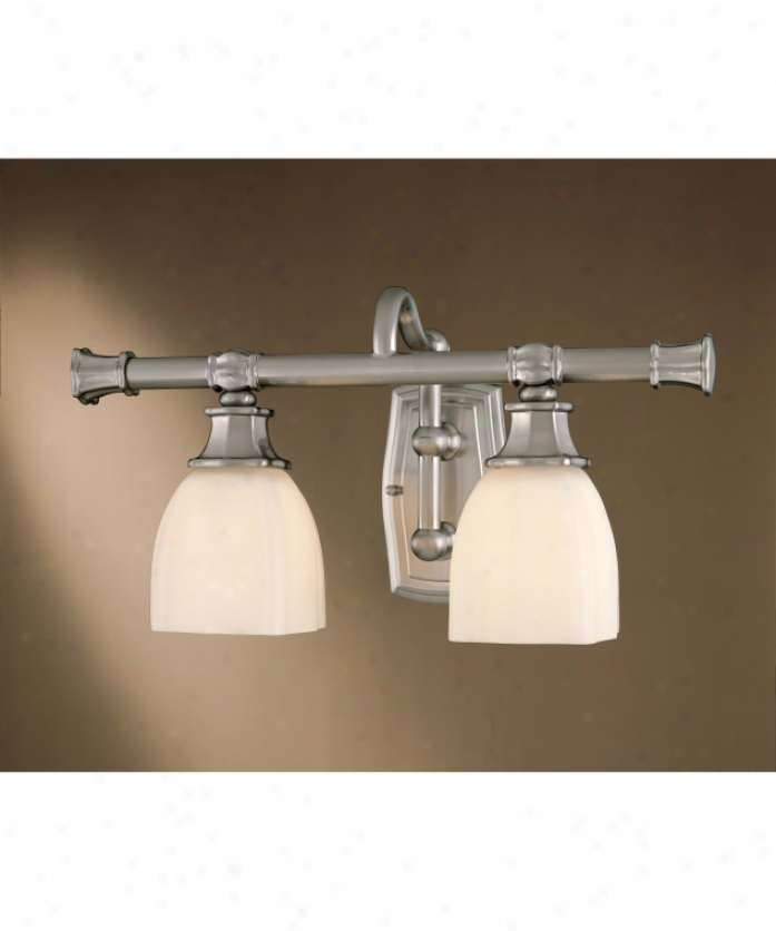 Minka Lavery 6092-84 Traditional Bath Art 2 Light Bath Vanity Light In Brushed Nickel With Etched White Glass