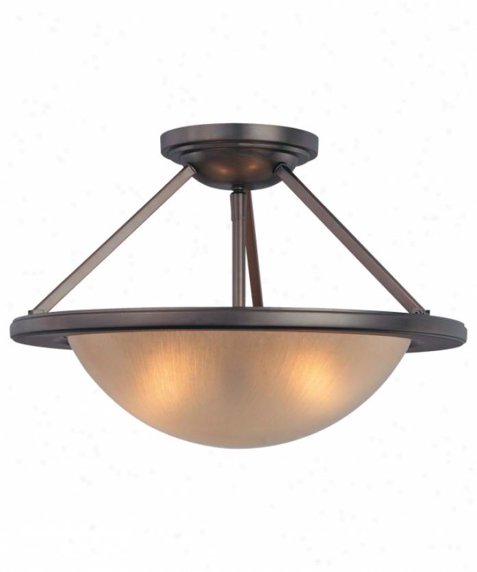 Minka Lavery 6247-267b Cimarron 2 Light Semi Flush Mount In Dark Brushed Bronze With Brushed Caramel Silk Glass Glass