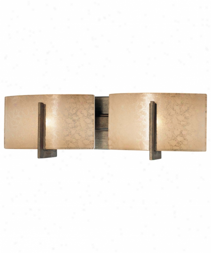 Minka Lavery 6392-573 Clarte 2 Light Bath Vanity Light In Patina Iron With Deep Spumanti Lace Glass Glass