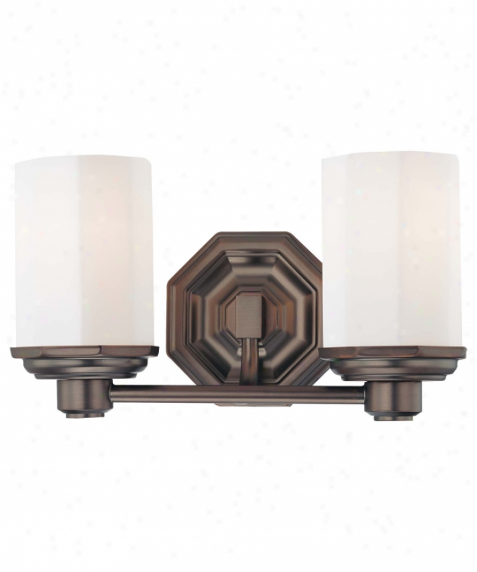 Minka Lavery 6422-267 Falstone 2 Light Bath Vanity Light In Dark Brushed Bronze With Etched Opal Glass Glass