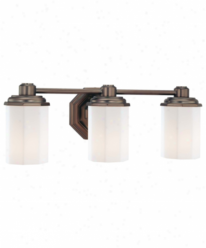 Minka Lavery 6423-267 Falstone 3 Light Bath Vanity Light In Dark Brushed Bronze With Etched Opal Glass Glass